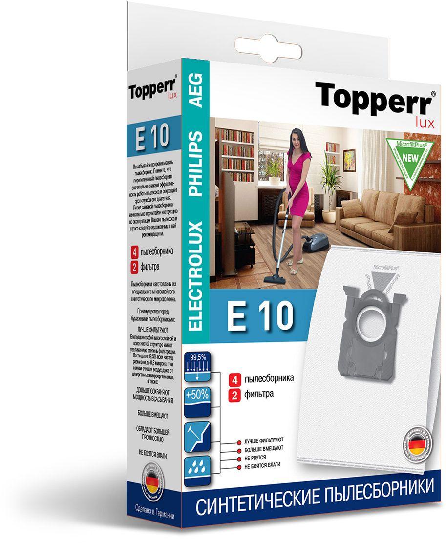 Topperr E 10 фильтр для пылесосов Electrolux, Philips, AEG, 4 шт 1416