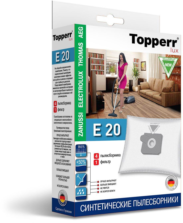 Topperr E 20 фильтр для пылесосов Zanussi, Electrolux, AEG, 4 шт1417Немецкие синтетические пылесборники Topperr E 20 подходят для пылесосов AEG, ELECTROLUX, THOMAS, ZANUSSI, произведены из экологически чистого, многослойного нетканого фильтрующего материала MicrofiltPlus. Данный материал не боится повышенной влажности и обладает большой прочностью, главное качество — способность задерживать 99,5% пыли; сохраняет мощность всасывания пылесоса до полного заполнения пылесборника, также продлевает срок службы пылесоса. Регулярное использование синтетических мешков-пылесборников гарантирует не только очищение воздуха от пыли и аллергенных микроорганизмов, но и чистоту внутренних поверхностей пылесоса.