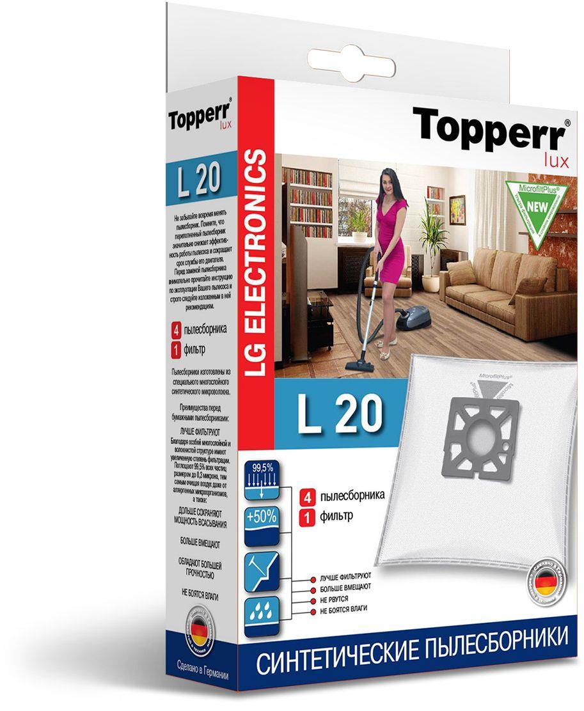 Topperr L 20 фильтр для пылесосов LG Electronics, 4 шт1421Немецкие синтетические пылесборники Topperr L 20 подходят для пылесосов LG ELECTRONICS, произведены из экологически чистого, многослойного нетканого фильтрующего материала MicrofiltPlus. Данный материал не боится повышенной влажности и обладает большой прочностью, главное качество — способность задерживать 99,5% пыли; сохраняет мощность всасывания пылесоса до полного заполнения пылесборника, также продлевает срок службы пылесоса. Регулярное использование синтетических мешков-пылесборников гарантирует не только очищение воздуха от пыли и аллергенных микроорганизмов, но и чистоту внутренних поверхностей пылесоса.