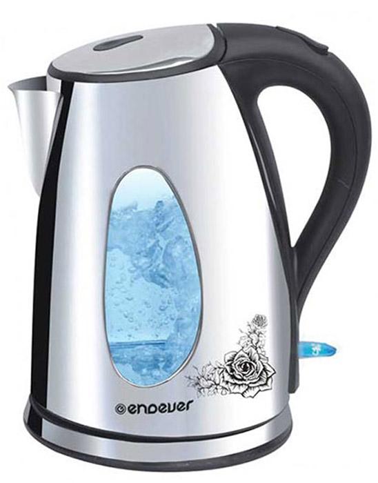Endever KR-207S SkyLine электрический чайникKR-207SКорпус чайника Endever KR-207S SkyLine выполнен из нержавеющей стали, сохраняющего природные свойства воды. Современный дизайн и оригинальный рисунок на корпусе добавляют устройству оригинальности. Благодаря максимальной мощности 2200 Вт, данная модель за считанные минуты вскипятит 1,8 литра воды. Крупное окошко для индикации уровня воды с подсветкой (при включении) позволяет следить за тем, как нагревается вода. Чайник соединён с базой центральным контактом и легко вращается на 360°. Крышка чайника открывается легким нажатием. Съемный фильтр легко снимается, его можно мыть вручную или в посудомоечной машине. Нагревательный элемент встроен в плоское дно и надежно защищен стальной пластиной, что делает его чистку максимально удобной. Среди характеристик безопасности использования чайника стоит отметить автоматический и ручной выключатели, а также защиту от перегрева.