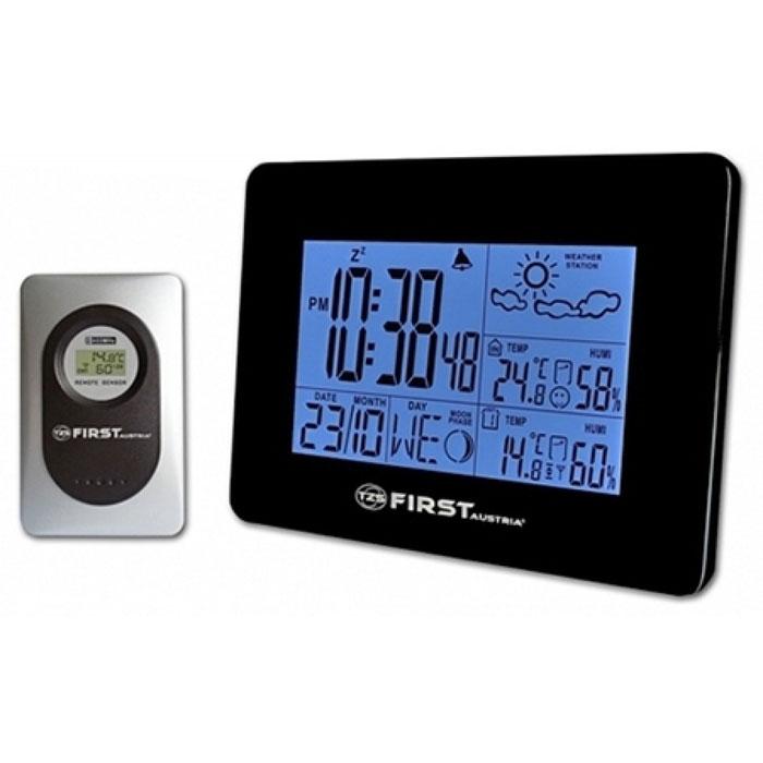 First FA-2461, Black погодная станцияFA-2461 BlackМетеостанция First FA-2461 позволит измерять температуру и влажность как внутри вашего дома, так и на улице. Модель также способна также прогнозировать погоду на ближайшее будущее. Помогают ей в этом цифровые датчики, обеспечивающие максимальную точность данных. Вся рабочая информация выводится на четкий ЖК- дисплей, на котором также отображается дата и время. Из дополнительного функционала стоит выделить наличие будильника подсветки экрана и отображение фаз луны. Рабочая частота: 433 МГц