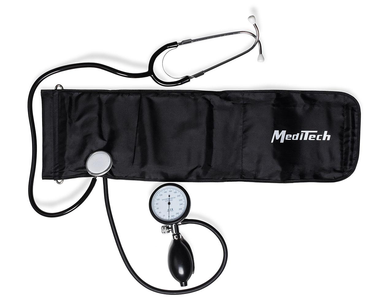 MediTech Механический тонометр Palm со встроенным стетоскопом, объединенным нагнетателем и люминесцентным манометром МТ-25LМТ-25LХарактеристики: Высокая точность измерений; Металлический корпус; Манжета со встроенной головкой стетоскопа; Диапазон измерений давления воздуха в компрессионной манжете 20-300 мм. рт. ст.; Износоустойчивая манжета из высококачественного нейлона; Дополнительно предлагаются манжеты разного размера для новорожденных, детей, подростков, взрослых и набедренная манжета; Размер взрослой манжеты на окружность плеча 254-406 мм.; Цена деления шкалы манометров прибора 2 мм. рт. ст.; Размеры не более 190х115x65 мм.; Масса, не более 0, 464 кг.; Гарантия 1 год. Комплект поставки: объединенный нагнетатель и манометр; манжета компрессионная; манометр мембранный; нагнетатель с клапаном; стетоскоп; руководство по эксплуатации; чехол; упаковочная коробка. Усовершенственная модель тонометра, комплектуется объединенным нагнетателем и манометром (отсутствие большого количества трубок у прибора), имеет...