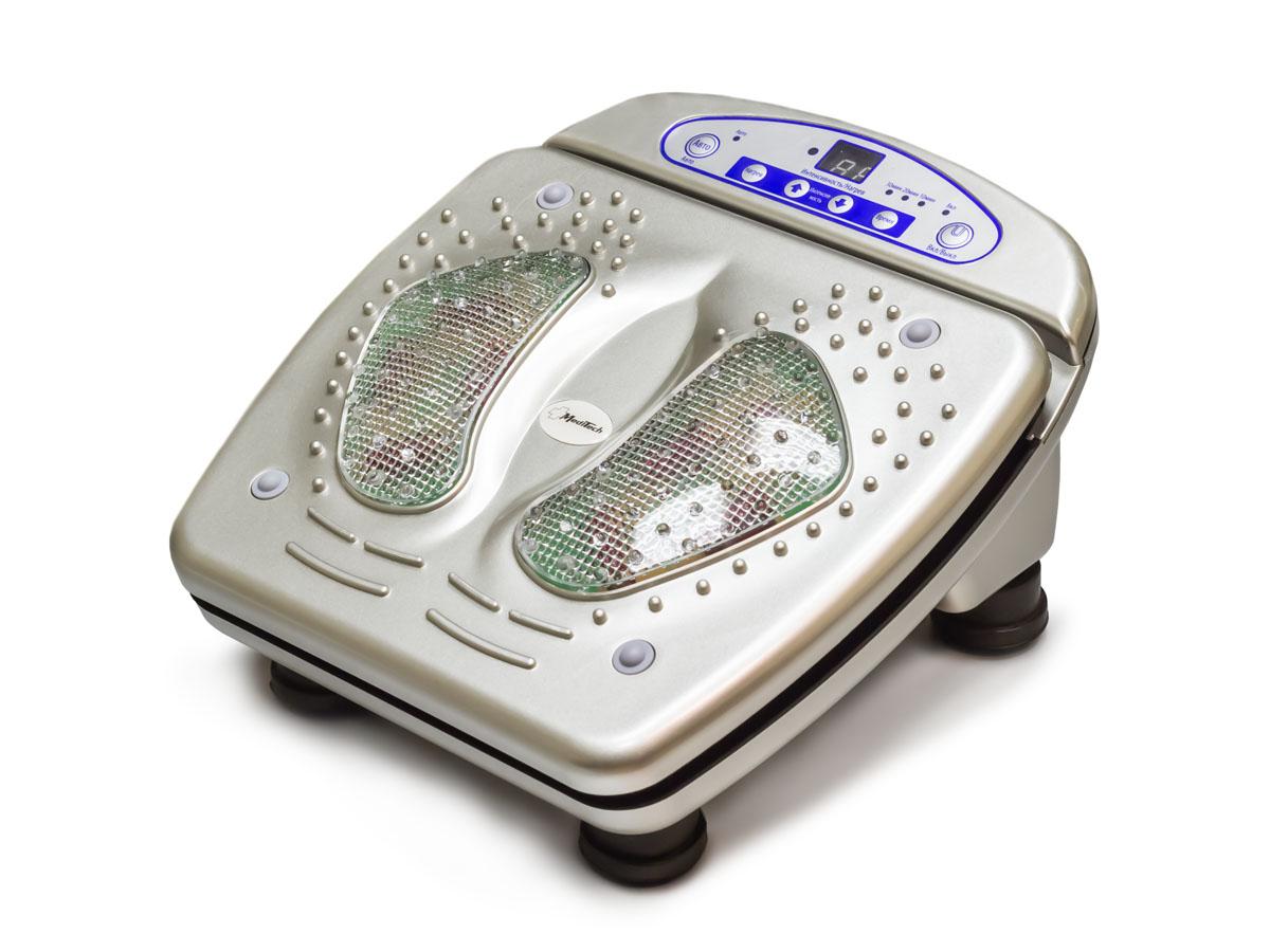 MediTech Аппарат массажный медицинский, ножной для массажа ступней ног, мышц спины и поясницы МК-828МК-828NewХарактеристики: 15 уровней интенсивности вибрации; 8 уровней инфракрасного нагрева; дистанционный пульт управления; Размеры 370?335?200 мм.; Источник электропитания - сеть переменного тока (220В/50Гц); Потребляемая мощность не более 45 Вт.; Условия защиты пациента и медицинского персонала от поражения электрическим током II класса типа В; Гарантия 1 год. Комплект поставки: массажер; дистанционный пульт; элемент питания для дистанционного пульта; руководство пользователя. Массажер глубоко воздействует на мышцы и акупунктуру стоп, стимулируя циркуляцию крови, что помогает ускорить процесс лечения, уменьшает боль, расслабляет мышцы и увеличивает подвижность суставов.