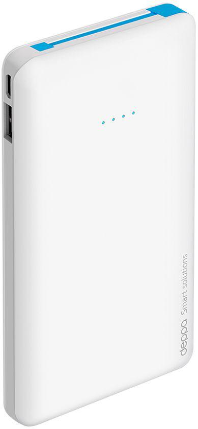 Deppa NRG Slim внешний аккумулятор (10000 мАч)33509Компактный и удобный внешний аккумулятор Deppa NRG Slim в стильном тонком корпусе. Идеальное решение для подзарядки ваших гаджетов каждый день.Надежность и безопасность NRG Slim обеспечивает целый комплекс встроенной защиты высокого уровня. Устройство компактно и эргономично. Внешние аккумуляторы NRG Slim совместимы с любыми цифровыми устройствами с функцией заряда от разъемов micro USB или Apple 8-pin. В комплект аккумулятора входит коннектор Apple 8-pin, находящийся в специальном слоте для хранения. Встроенный micro USB кабель и коннектор позволяют заряжать любые устройства без дополнительных проводов.