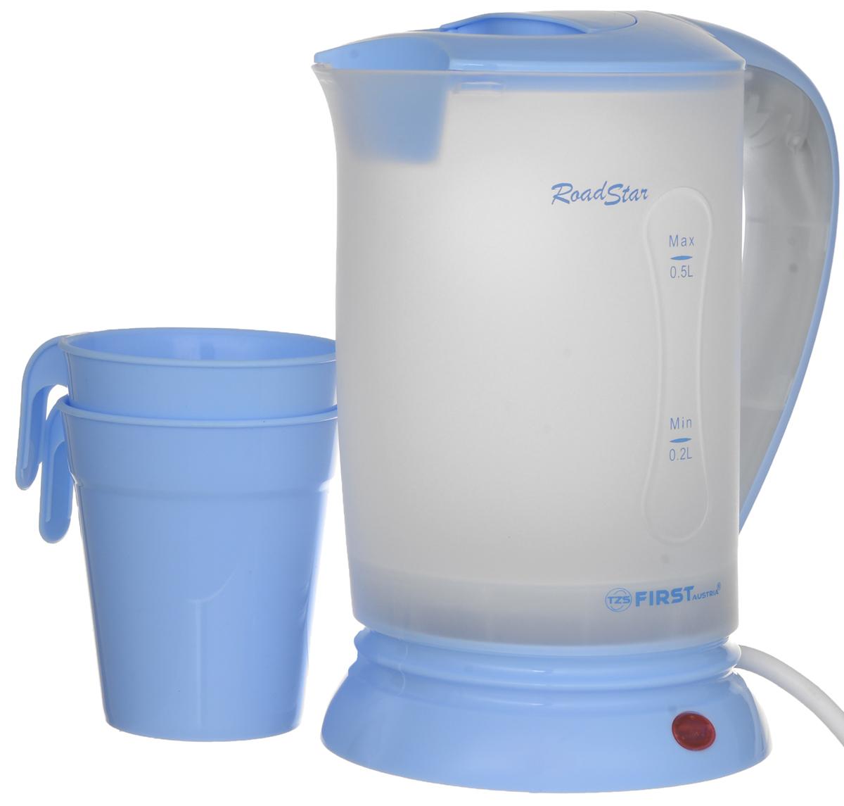 First FA-5425-2, Blue электрический чайникFA-5425-2 BlueДорожный электрический чайник First FA-5425-2 имеет объем 0,5 литра. Несмотря на свои компактные размеры, данная модель располагает всеми необходимыми функциями полноразмерных чайников. Скрытый нагревательный элемент позволит за короткое время вскипятить заданный объем воды, а функция автовыключения и защита от перегрева обеспечат безопасное использование в течение всего срока эксплуатации.