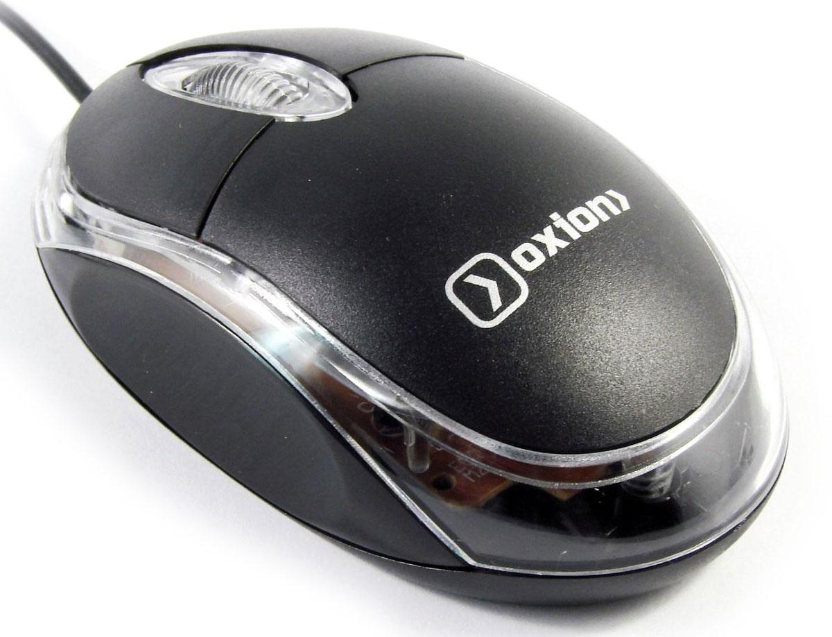 Oxion OMS001, Black мышь проводнаяOMS001BKПроводная USB - мышь Oxion OMS001 оснащена подсветкой, имеет разрешение датчика, равное 1000 dpi и 3 кнопки. Эргономичный дизайн корпуса разработан для продолжительной работы без ощущения усталости. Кнопка-колесо служит для более эффективной и удобной работы как в офисе, так и дома.