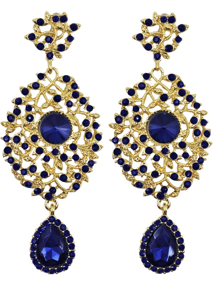 Серьги Taya, цвет: золото, синий. T-B-11370-EARR-GL.NAVY39859 Пуссеты (гвоздики)Серьги с английским замком изготовлены из гипоаллергенного бижутерного сплава. Крупные, грациозные серьги выполнены из овальных фигур с украшением из сверкающих камней.