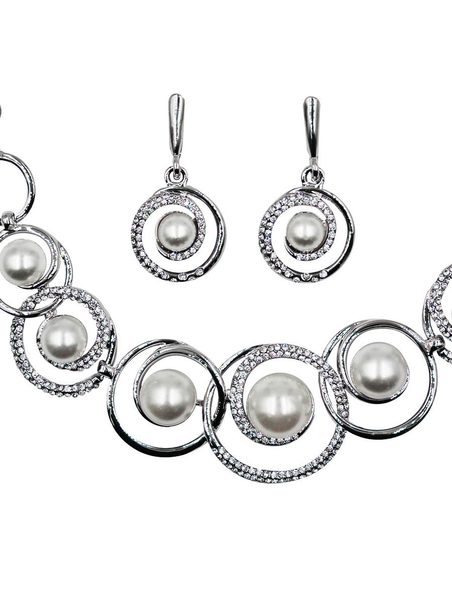 Набор бижутерии женский Taya: серьги, колье, цвет: серебро. T-B-11511-SET-SILVER