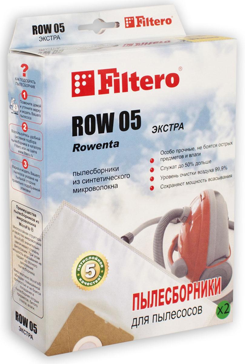 Filtero ROW 05 Экстра комплект пылесборников, 2 штROW 05 (2) ЭКСТРАПылесборники Filtero ROW 05 Экстра произведены из синтетического микроволокна MicroFib. Очень прочные, они не боятся острых предметов и влаги, собирают больше пыли (до 50%) и обеспечивают уровень очистки воздуха 99,9%, что значительно выше, чем у бумажных пылесборников. При этом мощность всасывания пылесоса сохраняется в течение всего периода службы пылесборника.Подходят для следующих моделей пылесосов:Rowenta^Bully RB 08, 14, 50 - 70, RB 500 - RB 526, RB 602, RB 700 - RB 720, RB 800 - RB 860Turbo Bully, Super Bully 5 in 1RD 200, RD 215, RH 05, RH 10 - RH 12, SC 020RU 01 - 15, RU 020, RU 065, RU 070, RU 071RU100 - RU 110, RU 200,RU 600 -RU 699, SC 020Clean Wash, CollectoAEG:NT 1200Bosch:BMS 1000 - BMS1999, BMS 2100 - BMS 2299например: BMS 1300 Siemens:VM 10000 - 10999, 15000 - 15999, 30000 - 39999например: VM 35001BORK:VC 9509 GR, VC 9618 GY, VC 9710, VC 9716, VC 9718Conti:VC 190 - VC 360 Dillinger, VC 1001 Hobby VacVC 400, VC 402 Hydro MagicDe Longhi:XE 1200..., XE 1251, XE 1271, XW 1200, XD 1000XWF 1500 E, XWDA 150 Darel, Multivac M 31, PentaElectrolux:Aqualux, Masterlux, TwinstreamHitachi:WDE 1000Hoover:S 6145, Jet'n'washKARCHER:A 2701 TE, K 2701, K 2731 TEPhilips:HL 2475, HL 6651, HL 6661, HR 6651 - 6675Thomas:Bravo 20, BioVac 20, Compact 20, Inox 1220 / 1520Junior 1220, Powerboy 1218, Power Edition 1520Power Pack 1620, Pro Inox 20, Vario 20, Silence 1120