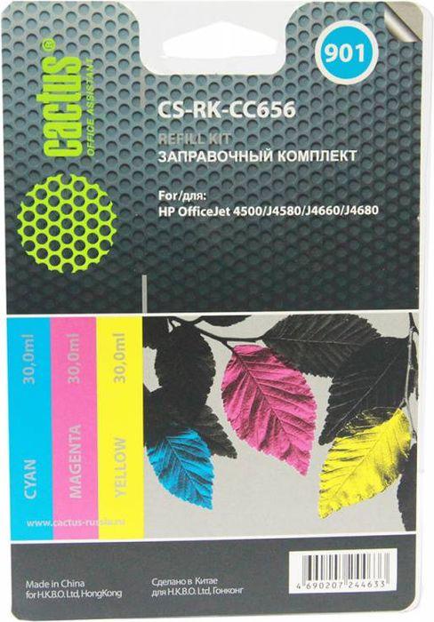 Cactus CS-RK-CC656, Color заправочный набор для HP OfficeJet 4500/J4580/J4660/J4680 (3 ч 30 мл)CS-RK-CC656Заправочный набор Cactus CS-RK-CC656 с цветными чернилами (3x30мл) для струйных принтеров HP OfficeJet 4500/J4580/J4660/J4680.