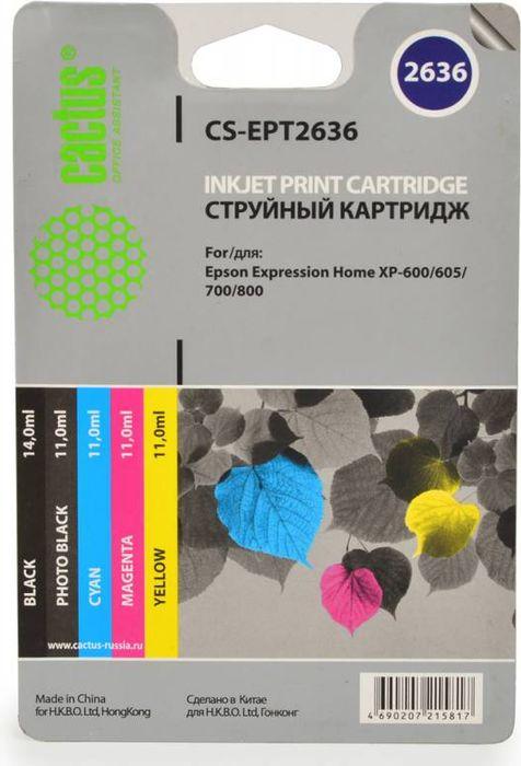 Cactus CS-EPT2636, Black Cyan Magenta Yellow набор струйных картриджей для Epson Expression Home XP-600/605/700CS-EPT2636Набор картриджей Cactus CS-EPT2636 для струйных принтеров Epson Expression Home XP-600/605/700. Расходные материалы Cactus для печати максимизируют характеристики принтера. Обеспечивают повышенную четкость изображения и плавность переходов оттенков и полутонов, позволяют отображать мельчайшие детали изображения. Обеспечивают надежное качество печати.