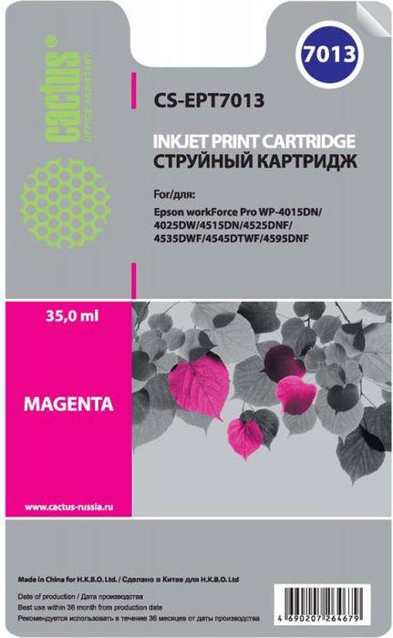 Cactus CS-EPT7013, Magenta картридж струйный для Epson WF-4015/4020/4025/4095/4515CS-EPT7013Картридж Cactus CS-EPT7013 для струйных принтеров Epson WF-4015/4020/4025/4095/4515/4525. Расходные материалы Cactus для печати максимизируют характеристики принтера. Обеспечивают повышенную четкость изображения и плавность переходов оттенков и полутонов, позволяют отображать мельчайшие детали изображения. Обеспечивают надежное качество печати.