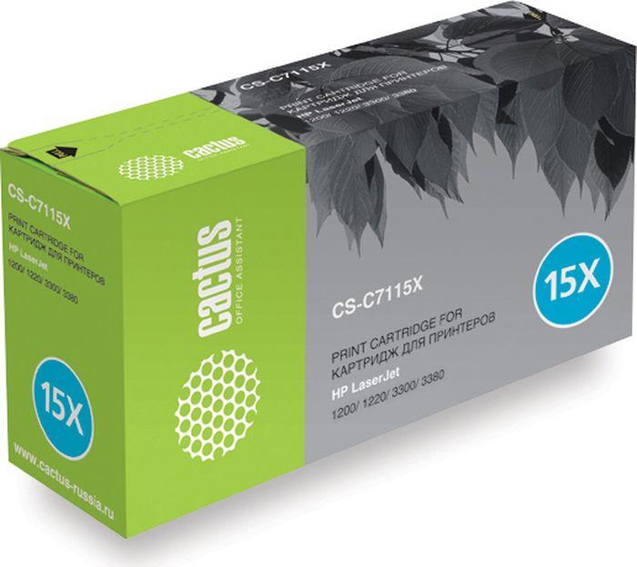Cactus CS-C7115XS, Black тонер-картридж для HP LJ 1200/1220/1300/3300/3380CS-C7115XSТонер-картридж Cactus CS-C7115XS для лазерных принтеров HP LJ 1200/1220/1300/3300/3380. Расходные материалы Cactus для лазерной печати максимизируют характеристики принтера. Обеспечивают повышенную чёткость чёрного текста и плавность переходов оттенков серого цвета и полутонов, позволяют отображать мельчайшие детали изображения. Гарантируют надежное качество печати.
