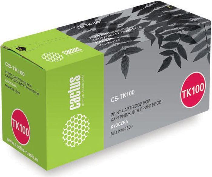 Cactus CS-TK100, Black тонер-картридж для Kyocera Mita KM-1500CS-TK100Тонер-картридж Cactus CS-TK100 для лазерных принтеров Kyocera Mita KM-1500.Расходные материалы Cactus для лазерной печати максимизируют характеристики принтера. Обеспечивают повышенную чёткость чёрного текста и плавность переходов оттенков серого цвета и полутонов, позволяют отображать мельчайшие детали изображения. Гарантируют надежное качество печати.