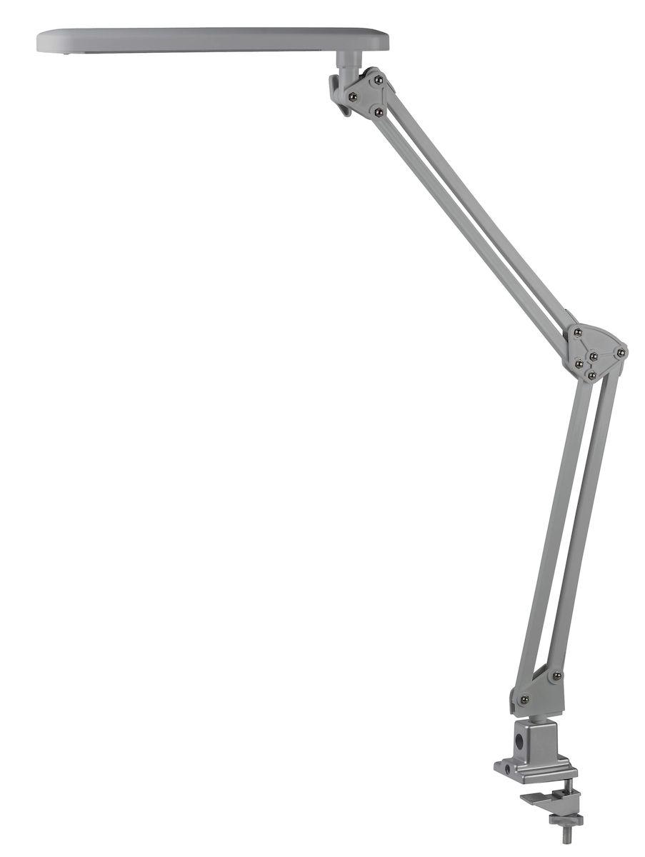 Настольный светильник ЭРА NLED-441-7W-S, цвет: сереброNLED-441-7W-SСветильник со светодиодами (LED) в качестве источников света, которые экономят до 90% электроэнергии и не требуют замены на протяжении всего срока службы светильника. Модель на струбцине. Выключатель на панели со светодиодами. Высота плафона регулируется двухсекционной сгибающейся стойкой, направление света регулируется поворотом плафона в любом направлении. Теплый свет, аналогичный свету лампы накаливания - цветовая температура 3000К.