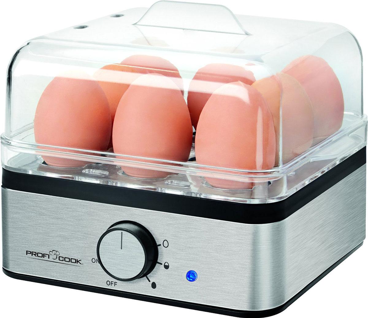 Profi Cook PC-EK 1084 яйцеваркаPC-EK 1084C помощью яйцеварки Profi Cook PC-EK 1084 яйца готовятся на пару, при этом используется минимальное количество воды. Каждое яйцо помещается в свое гнездышко, поэтому яйца не соприкасаются друг с другом, а значит, не трескаются и не вытекают. Приготовление яиц всмятку, в мешочек, в крутую 2 формы для готовки яиц без скорлупы Прозрачный лоток / подставка для яиц Прозрачная крышка Стаканчик для воды с иглой для прокалывания яиц Нагревательный элемент из нержавеющей стали