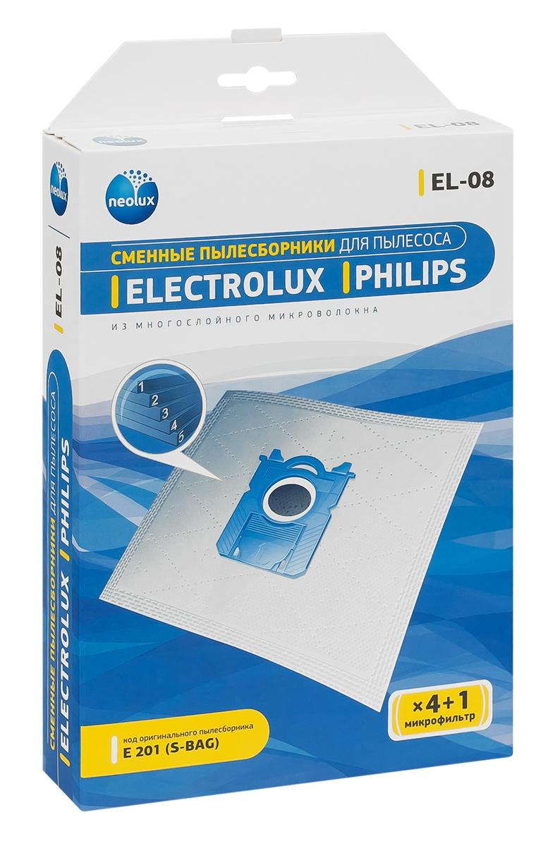 Neolux EL-08 пылесборник из пятислойного микроволокна (4 шт) + микрофильтрEL-08Пылесборники Neolux EL-08 предназначены для пылесосов Electrolux, Philips. Изготовлены из пятислойного микроволокна и содержат 2 слоя Meltblown, которые и являются основными фильтрующими элементами. Задерживают 99,9 % пыли, идеальны для людей, страдающих аллергией. Не боятся случайного попадания влаги и острых предметов. Служат в 1,5 раза дольше бумажных пылесборников. Продлевают срок службы двигателя пылесоса. Сокращают время уборки за счет сохранения мощности двигателя пылесоса. В комплект входит универсальный фильтр защиты двигателя размером 125х195 мм. Совместимые модели: Electrolux: Airmax, Clario, Cyclonexl, Ergobox, Ergoeasy, Ergospace, Excellio, Maximus, Oxy, Oxygen, Smartvac, Ultra Active, Ultra One, Ultra Silencer, Viva Quipstop, Viva Control Philips: Airstar, City-Line, Easylife, Expression, Homehero, Impact, Jewel, Mobilo, Performer, Performeractive, Performerexpert Eco, Performerpro, Powerlife, Silentstar, Smallstar, Specialist,...