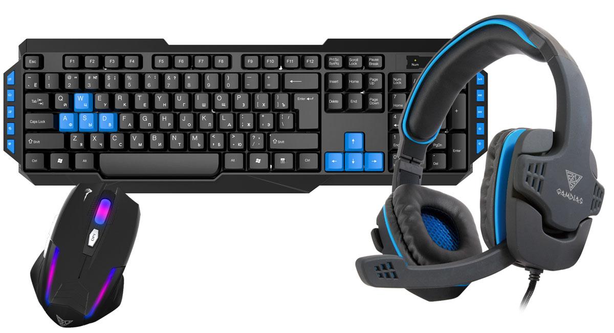 Gamdias Combo 3-in-1 клавиатура + мышь + наушникиGKS100Gamdias Combo 3-in-1 -набор, состоящий из мембранной клавиатуры, оптической мыши и гарнитуры с 40- миллиметровыми динамиками. Клавиатура имеет мембранную структуру. В конструкции клавиатуры имеются отверстия для вывода влаги из корпуса, в случае если на неё была пролита жидкость. 10 горячих клавиш упрощают работу с почтой, поиском, калькулятором, управлением аудио. Мышь оснащена дышащей RGB-подсветкой. Оптический сенсор с разрешением 3200 dpi, которое можно менять на лету, гарантирует безошибочное позиционирование мыши. Идеальна для любого типа хвата. Гарнитура оснащена 40-мм динамиками с яркими высокими частотами и глубоким насыщенным басом. Надежный кабель в двухцветной оплетке. Большие амбушюры и прекрасная звукоизоляция. Встроенный в кабель пульт управления громкостью и микрофоном. Клавиатура: Мультимедиа клавиши: 10 Жизненный цикл клавиш: 8 000 000 Мышь: Количество кнопок: 5 Гарнитура:...