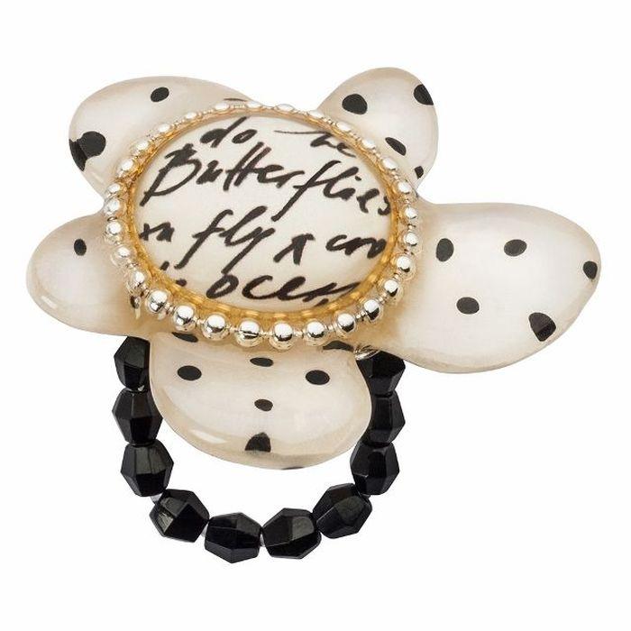 Кольцо Lalo Treasures G&G, цвет: бежевый, черный. R6974mR6974mИзысканное кольцо оригинального дизайна Lalo Treasures изготовлено из ювелирной смолы ярких цветов. Изделие выполнено в виде утонченного цветка. Скругленные углы элемента идеально подходят для нежных женских пальцев - изящество и сама элегантность. Очень винтажно смотрится на руке. Кольцо Lalo подчеркнет вашу утонченность и изысканный вкус. Изделие регулируется по размеру.
