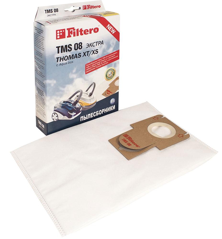 Filtero TMS 08 Экстра комплект пылесборников для Thomas XT/XS, 3 штTMS 08 (3)Мешки-пылесборники Filtero TMS 08 Экстра произведены из синтетического микроволокна MicroFib. Очень прочные, они не боятся острых предметов и влаги, собирают больше пыли (до 50%) и обеспечивают уровень очистки воздуха 99,9%, что значительно выше, чем у бумажных пылесборников. При этом мощность всасывания пылесоса сохраняется в течение всего периода службы пылесборника. Сменные мешки-пылесборники Filtero TMS 08 можно использовать совместно с держателем Filtero из стартового набора Filtero TMS 18 или c оригинальным держателем Thomas. Подходят для следующих моделей пылесосов: THOMAS: Allergy & Family Aqua-box Compact Cat & Dog XT Lorelea XT Mistral XS Mokko XT Multi clean X10 Parquet Parkett Master XT Parkett Prestige XT Parkett Style XT Perfect Air Allergy Pure Perfect Air Animal Pure Perfect Air Feel Fresh Pet & Family Sky XT Twin XT Vestfalia XT Wave XT