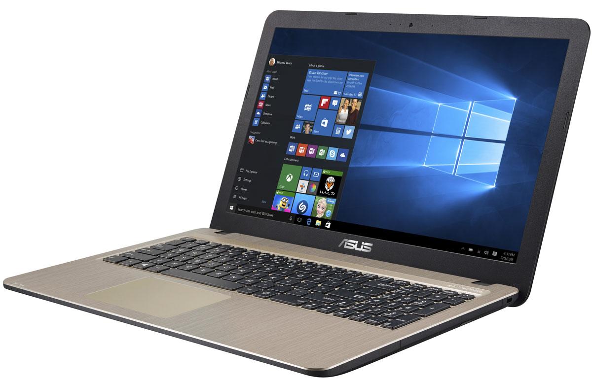 ASUS VivoBook X540LA, Chocolate Black (90NB0B01-M12510)90NB0B01-M12510Серия Asus VivoBook X540LA - это современные ноутбуки для ежедневного использования как дома, так и в офисе. Их мощная аппаратная конфигурация, в которую входит современный процессор Intel, обеспечит высокую скорость работы любых приложений. В качестве операционной системы на них устанавливается Windows 10.Для быстрого обмена данными с периферийными устройствами VivoBook X540LA предлагает высокоскоростной порт USB 3.1 (5 Гбит/с), выполненный в виде обратимого разъема Type-C. Его дополняют традиционные разъемы USB 2.0 и USB 3.0. В число доступных интерфейсов также входят HDMI и VGA, которые служат для подключения внешних мониторов или телевизоров, и разъем проводной сети RJ-45. Кроме того, у данной модели имеются оптический привод и кард-ридер формата SD/SDHC/SDXC.Благодаря эксклюзивной аудиотехнологии SonicMaster встроенная аудиосистема ноутбука VivoBook X540LA может похвастать мощным басом, широким динамическим диапазоном и точным позиционированием звуков в пространстве. Кроме того, ее звучание можно гибко настроить в зависимости от предпочтений пользователя и окружающей обстановки.Круглые динамики с большими резонансными камерами (19,4 куб. см) обеспечивают улучшенную передачу низких частот и пониженный уровень шумов.Ноутбук VivoBook X540LA выполнен в прочном, но легком корпусе весом всего 1,9 кг, поэтому он не будет обременять своего владельца в дороге, а привлекательный дизайн и красивая отделка корпуса превращают его в современный, стильный аксессуар.В ноутбуке VivoBook X540LA реализована разработанная специалистами ASUS технология Splendid, позволяющая выбрать один из нескольких предустановленных режимов работы дисплея, каждый из которых оптимизирован под определенные приложения: режим Vivid подходит для просмотра фотографий и фильмов, режим Normal - для обычной работы в офисных приложениях, а в специальном режиме Eye Care реализована фильтрация синей составляющей видимого спектра для повыше