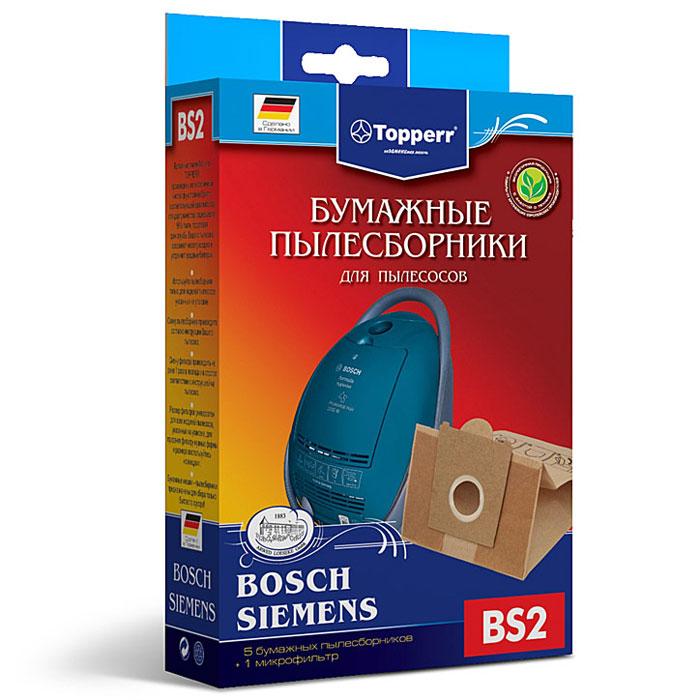 Topperr BS 2 фильтр для пылесосов Bosch, Siemens, 5 шт1001Бумажные пылесборники Topperr BS 2 для пылесосов Bosch и Siemens изготовлены из экологически чистой двухслойной бумаги, соответствующей европейскому стандарту качества, задерживают 99% пыли, продлевая срок службы пылесоса, сохраняют чистоту воздуха и устраняют вредные бактерии. Модели и серии пылесосов: Bosch: Home Professional BSGL 5 PRO; Free`e BSGL 52; GL-30 BSGL 3; GL-40 BSGL 4; Formula Hygienixx BSG 7; Logo BSG 6; Sphera BSA 2, BSA 3, BSD2, BSD 3; Move BSGL 2move (1-8); Perfecta Ultra BSF 1; Casa BSD 1; Natura BSD 2; Easy Control BSC 1; Perfecta BBS 8; Compacta BBS 7; Activa BBS 6; Optima BBS 5; Maxima BBS 4; Alpha1 BBS 1, Alpha2 BBS 2; Solida BBS 1; Solitaire BSA 2. Siemens: Z3.0 VSZ3; Z4.0 VSZ 4; Z5.0 VSZ5; Z6.0 VSZ 6; Technopower VS 07G; Synchropower VS 06G; Dino VS 5.A(B)(C)(E); VS 04G; SuperL(XL) VS 9.A; VS 81A; SuperE VS 7.A(B)(C)(D), VS 33A(B); VS 32A(B); Super700 VS 7; Super690 VS 69; SuperM VS 6.A, VS 7.C(D); Super500 VS 5; SuperS VS 42A(B),...