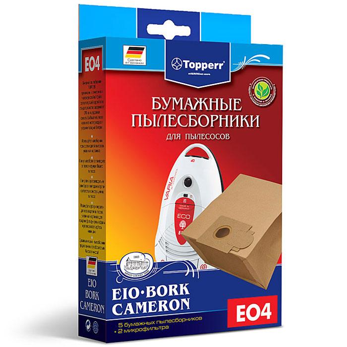 Topperr EO 4 фильтр для пылесосов Bork, Cameron и EIO, 5 шт1013Бумажные пылесборники Topperr EO 4 для пылесосов Bork, Cameron и EIO изготовлены из экологически чистой трехслойной бумаги, соответствующей европейскому стандарту качества, задерживают 99% пыли, продлевая срок службы пылесоса, сохраняют чистоту воздуха и устраняют вредные бактерии. Модели и серии пылесосов: Bork: V5012, V5011, V502, V501, V500,VC-3318, VC-3320, VC-3322, VC-3342, VC-3345, VC-9119 Cameron: СVС-1050 EIO: (Morphy Richards) BS83, 84; Villa: 2200 premium, beech, steel, wave; Vivo: 1600, 2000, 2000 airbox, 2200 airbox; Compact: 1200, 1300, 1400, BS 48/1, eco2, home eco2; Domatic: 1200, 1300, 1400, BS48/1, BS49/1, harlekin, pianissimo, valente; Varia: 2000, 1600 ECO, 2200 DUO, eco 2 pro nature, eco 2 energie, pianissimo, proedition 1500 r-control, supreme, valente; Exclusiv: 1200, 1300, 1400,1500,1600, BS86/1, BS87/1, BS88/1; Futura: 1200, 1300,1400,1800, BS80/1, BS81/1, BS82/1; Handy: 1200, 1300,1400, deluxe, supreme, valente; Topo: 1700,...