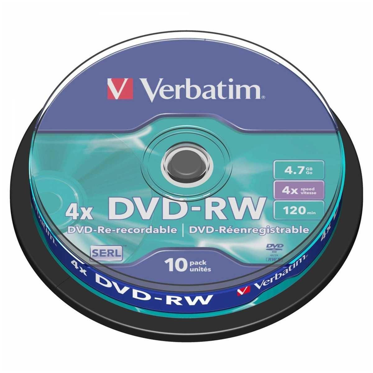 Диск DVD-RW Verbatim 4.7Gb 4x Cake Box (10 шт)
