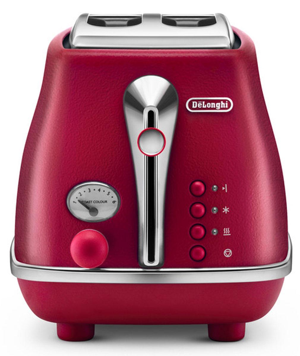 DeLonghi Icona Elements CTOE2103.R, Red тостер0230120026Корпус придает внешнему виду тостера DeLonghi CTOE2103 строгость и в то же время особый шик. Хромированная отделка смотрится оригинально и гармонично. Кнопки управления имеют неоновую подсветку, так что в темное время суток вы без проблем сможете им управлять. Тостер выполнен в классическом стиле, который придется по душе людям с изысканным вкусом.Тостер DeLonghi CTOE2103 делает хрустящие гренки благодаря инфракрасному излучению от спиралей, находящихся внутри корпуса. Прибор работает на мощности 900 Вт, что делает его работу быстрой и hезультативной. Горячие тосты будут готовы всего за несколько минут. С первого взгляда может показаться, что тостер - это простое устройство лишь для поджаривания ломтиков хлеба. Но это не так! Функциональные возможности прибора намного шире. Функция подогрева пригодится вам для остывших тостов. Функция размораживания - для хлеба из морозильной камеры. Функция односторонний подогрев дает возможность и разогреть уже готовые хлебцы, и сделать поджаривание тоста лишь с одной стороны. Функция отмены позволяет закончить работу тостера в любой момент, когда вы посчитаете нужным. Цена тостера довольно приемлема, учитывая, что вы приобретаете устройство, в котором так много различных дополнительных возможностей.Вы можете оценить выбор степени прожарки тостов из шести вариантов. Слегка подрумяненный или максимально прожаренный хлеб - вы можете выбрать степень нагрева легким поворотом ручки управления. Благодаря этой функциональной особенность решается вопрос разных вкусовых предпочтений. Ведь теперь каждый член вашей семьи может приготовить тост по своему вкусу.