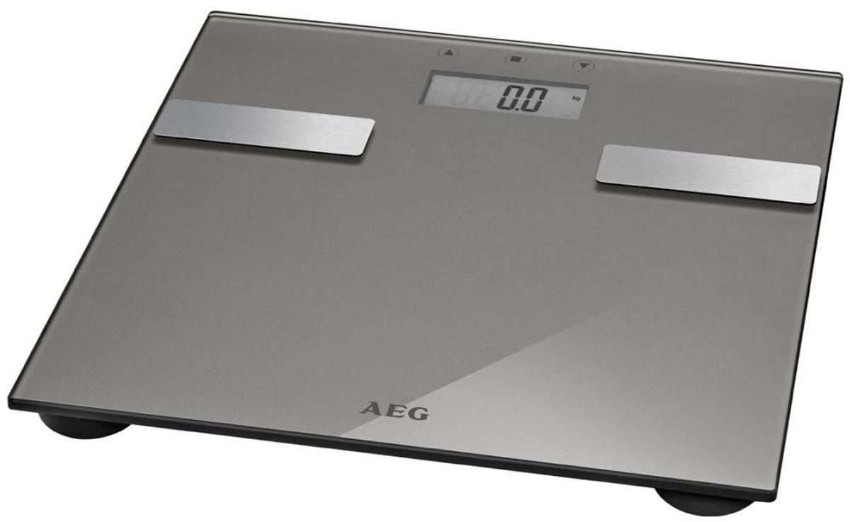 AEG PW 5644 FA, Light Gray напольные весыPW 5644 FA titanЭлектронные весы AEG PW 5644 FA со стеклянной подошвой идеально подойдут для анализа параметров тела — вес, жир, вода, мышечная масса, кости, расход калорий за день, индекс массы тела. Многофункциональный LCD-дисплей Система Степ-он Размер поверхности 30 х 30 см Нескользящие ножки
