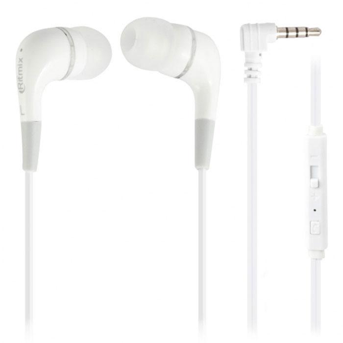 Ritmix RH-112M, White наушники15118382Ritmix RH-112M – это портативные наушники-вкладыши с функцией гарнитуры. Кабель стандартной длины оснащён микрофоном, кнопкой управления функциями телефона, регулятором громкости и штекером L-образной формы.