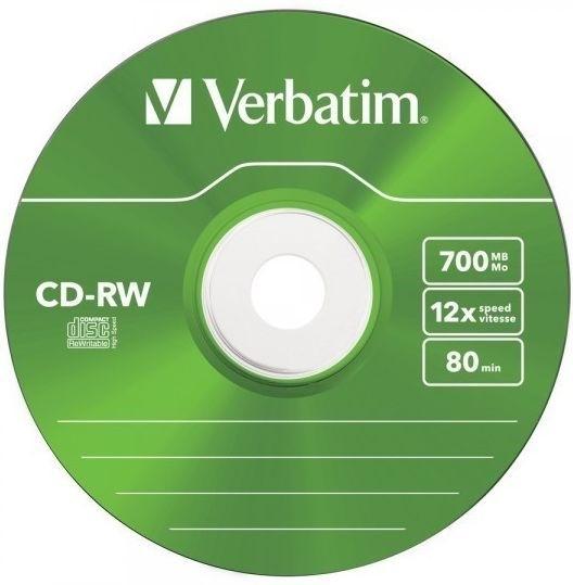 Диск CD-RW Verbatim 700Mb 12x Slim case, 5 шт (43167)