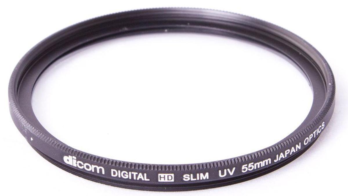 Dicom D-UVS55 UV Slim тонкооправный фильтр (55 мм)D-UVS55Фильтр Dicom D-UVS55 в металлической ультратонкой оправе (толщина 3,25 мм) используется для защиты объектива от пыли, царапин, загрязнений. Снижает дымку и увеличивает контрастность за счет отсечки ультрафиолетового спектра.
