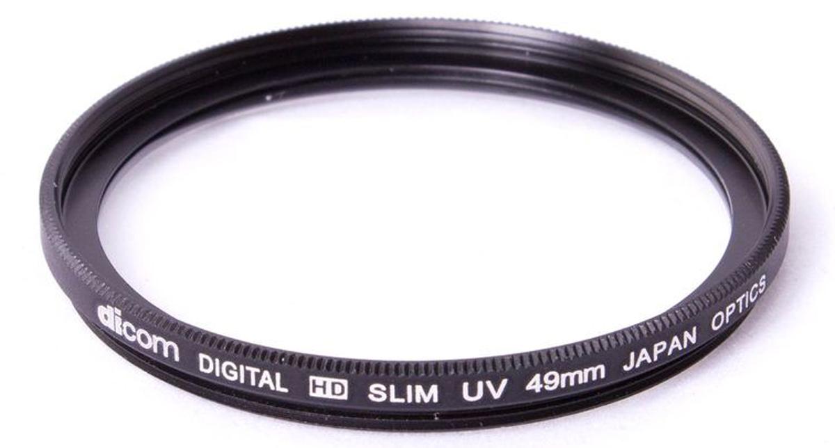 Dicom D-UVS49 UV Slim тонкооправный фильтр (49 мм)D-UVS49Фильтр Dicom D-UVS49 в металлической ультратонкой оправе (толщина 3,25 мм) используется для защиты объектива от пыли, царапин, загрязнений. Снижает дымку и увеличивает контрастность за счет отсечки ультрафиолетового спектра.
