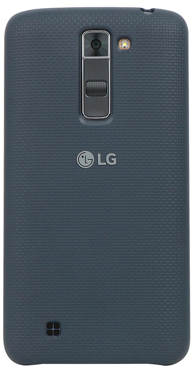 LG Back Cover чехол для LG K7, BlackCSV-150.AGRABKЧехол LG Back Cover для K7 имеет утонченный дизайн с тканевым узором на задней крышке. Он обеспечивает максимальное удобство в использовании, а прорезиненное покрытие из твердого пластика - дополнительную защиту от повреждений. Чехол имеет свободный доступ ко всем кнопкам и разъемам устройства.