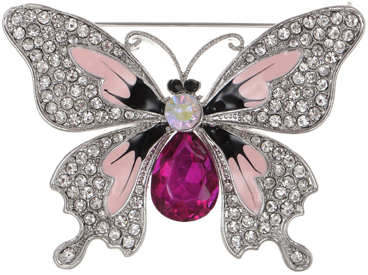 Брошь женская Fashion House, цвет: серебристый. FH29109Брошь-булавкаБрошь Fashion House выполнена из металла в форме бабочки и инкрустирована пластиком и сверкающими стразами. Аксессуары с животными всегда смотрятся интересно и свежо, вы будете улыбаться каждый раз, когда ваш взгляд будет падать на маленькие крылья или крохотные усики. Прозрачные кристаллы в сочетании с интересной формой рождают эффектное украшение, которое подойдет для любого торжественного случая, когда надо добавить в образ немного блеска. Этот роскошный аксессуар сделает любую вашу вещь более яркой и элегантной.