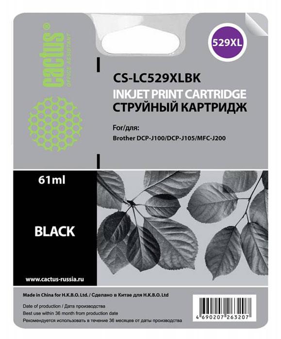 Cactus CS-LC529XLBK, Black картридж струйный для Brother DCP-J100/J105/J200CS-LC529XLBKКартридж Cactus CS-LC529XLBK для струйных принтеров Brother DCP-J100/J105/J200. Расходные материалы Cactus для струйной печати максимизируют характеристики принтера. Обеспечивают повышенную чёткость чёрного текста и плавность переходов оттенков серого цвета и полутонов, позволяют отображать мельчайшие детали изображения. Обеспечивают надежное качество печати.