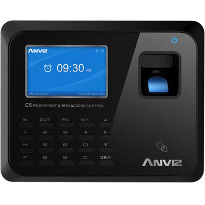 IVUE Anviz С5 сетевой терминал учета рабочего времениC5Терминал имеет тонкий изысканный дизайн, сканер отпечатков пальцев нового поколения обеспечивает быстрое распознавание сотрудников, а герметичный водо- и пыленепроницаемый корпус обеспечивает стабильную работу устройства. Сканирование отпечатка проходит менее чем за 0,5 секунды. Встроенный веб-сервер позволяет зайти на терминал из любой точки мира и следить за передачей данных в реальном времени с помощью удобного интерфейса на русском языке. Русскоязычные голосовые подсказки. Поддержка протоколов TCP/IP, DHCP и DNS. Дополнительный встроенный RFID, Mifare или HID считыватель Методы распознавания сотрудников по отпечаткам пальцев, паролю и картам. Так же можно задать каждому сотруднику уникальный 12-значный ID. Возможность запрограммировать 16 различных статусов посещения. Способы подключения: TCP/IP, USB Host, USB, RS232, RS485 Считыватель карт: 125 КГц EM RFID, Optional 13.56 МГц Mifare Имя на дисплее Фото на дисплее Отпечаток пальца на дисплее ...