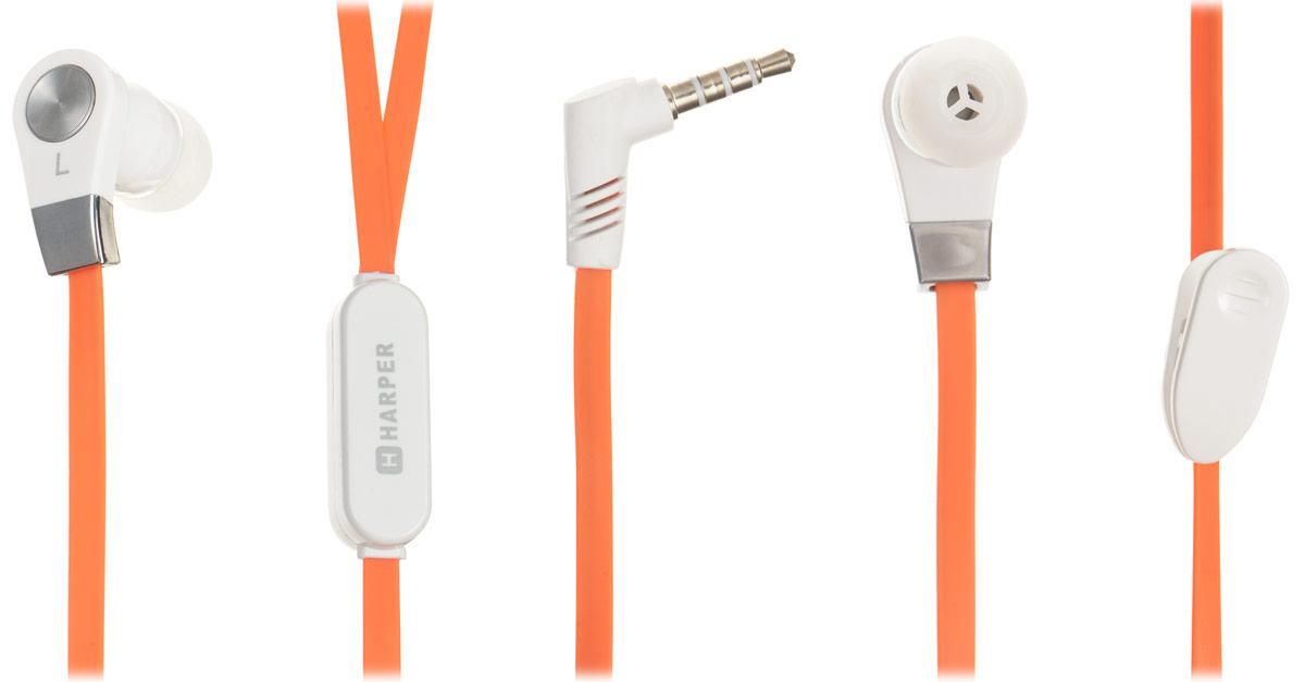 Harper HV-103, Orange наушникиHV-103 orangeHarper HV-103 - компактные и недорогие внутриканальные наушники с функцией гарнитуры. Кабель длиной 1,2 метра идеально подходит для использования на улице. Встроенный пульт и микрофон предназначен для быстрого переключения между музыкой и вызовами. L-образный штекер для прочности и долговечности кабеля. В комплект входят мягкие силиконовые накладки 3 размеров для максимального комфорта.