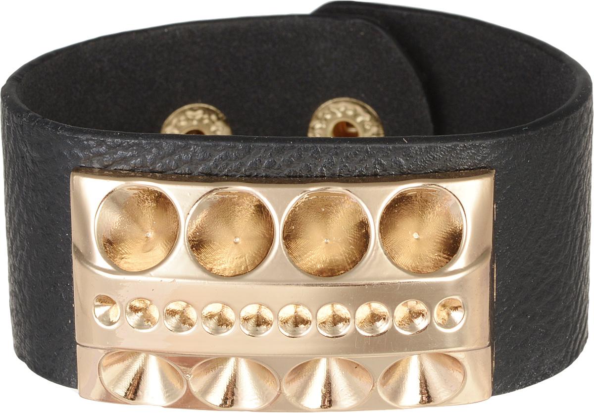 Браслет Taya, цвет: черный. T-B-8041Глидерный браслетОригинальный браслет Taya выполнен в виде основы из искусственной кожи с зернистой фактурой, которая оформлена оригинальным элементом из металлического сплава.Изделие застегивается на кнопку, длина регулируется за счет дополнительных кнопок.Стильный браслет придаст вашему образу изюминку, подчеркнет красоту и изящество вечернего платья или преобразит повседневный наряд.