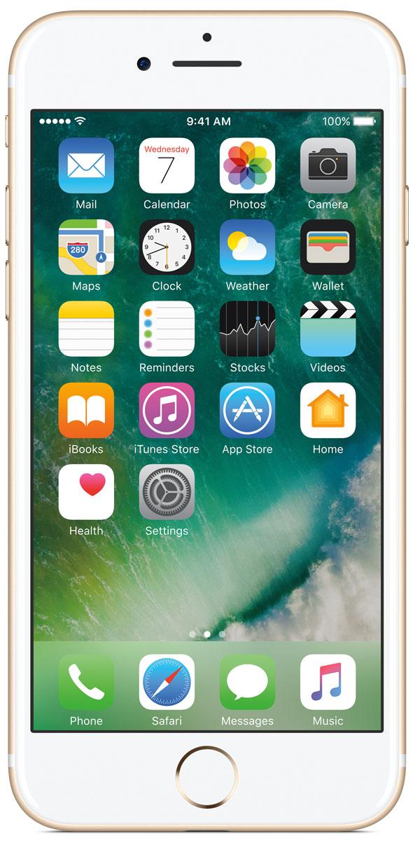 Apple iPhone 7 128GB, GoldMN942RU/AiPhone 7 оснащен великолепной камерой, которая позволяет делать невероятные снимки. Этот телефон обладает высокой производительностью и самым долговечным аккумулятором среди всех моделей iPhone, великолепными стереодинамиками, системой широкой цветопередачи от камеры на экран. Для iPhone 7 доступны два новых великолепных цвета корпуса, а также обеспечивается защита от воды и пыли. В iPhone 7 встроена самая популярная в мире камера. Благодаря совершенно новым функциям она стала ещё лучше. 12-мегапиксельная камера в iPhone 7 оснащена системой оптической стабилизации изображения, обладает высокой светосилой f/1.8 и 6-элементным объективом для съёмки ярких фотографий и видео с высоким разрешением. Расширенный цветовой диапазон позволяет фиксировать яркие цвета во всех деталях. Другие усовершенствования камеры Новый процессор обработки сигнала изображения, созданный Apple, выполняет более 100 миллиардов операций на одной фотографии всего за 25 миллисекунд. Это...