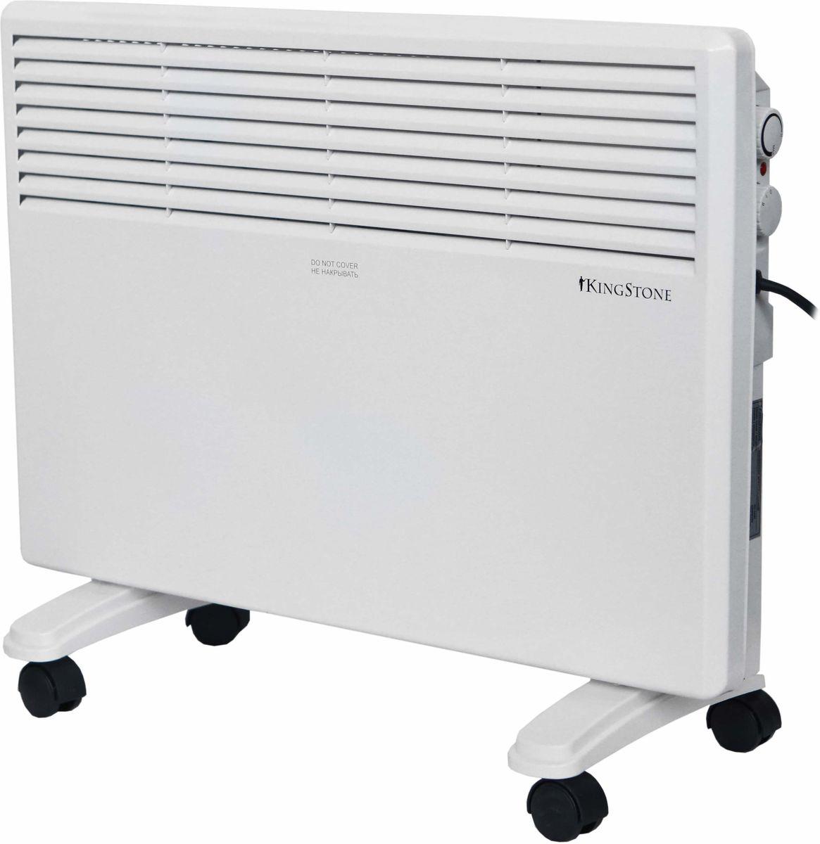 КingStone KH-1500 конвектор электрическийКingStone KH-1500Электрический конвектор КingStone KH-1500 - это современный, надежный, мобильный и экономичный обогреватель. Работа конвектора КingStone KH-1500 основана на принципе естественной конвекции: холодный воздух поступает внутрь обогревателя через отверстие в нижней части и, проходя через нагревательный элемент, уже нагретый воздух выходит через жалюзи, расположенные на передней панели обогревателя. Современный внешний вид позволяет гармонично вписать конвектор в любой интерьер. br>С влагостойким исполнением корпуса прибора IPX4 прибор можно использовать в помещениях с повышенной влажностью и обилием брызг Удобная в эксплуатации, интуитивно понятная панель управления облегчает использование прибора