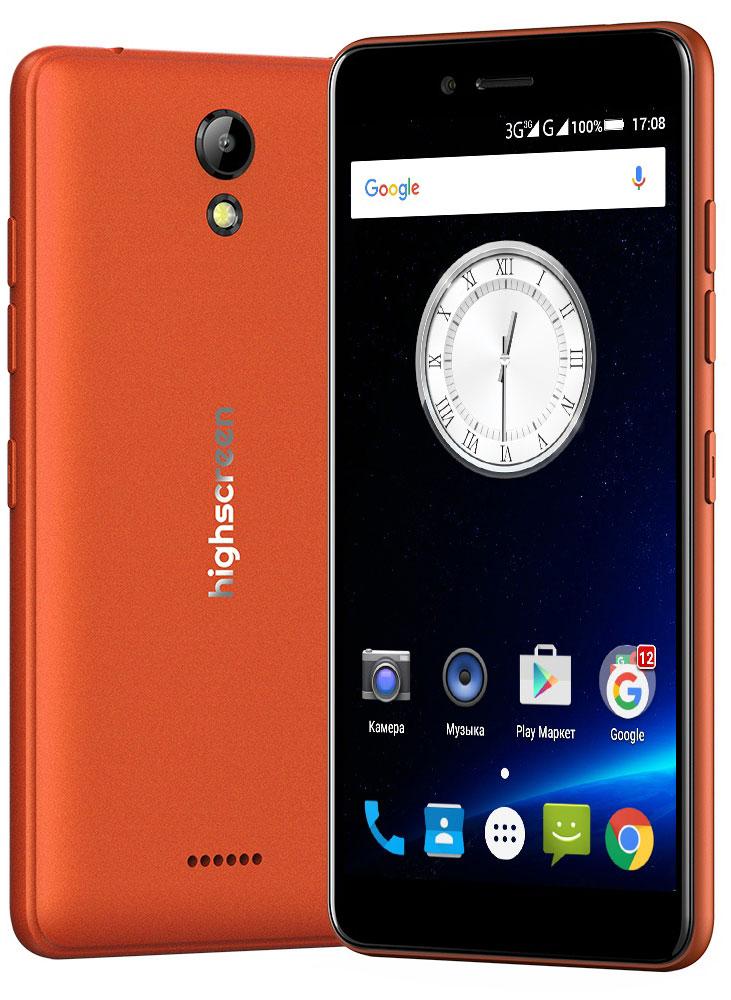 Highscreen Easy S, Orange23503Highscreen Easy S - поразит тебя дизайном, идеальными линиями корпуса и компактными размерами. Качественные материалы, сбалансированные характеристики, невысокая цена и простота в освоении - это все новая серия смартфонов Easy. Highscreen Easy S работает на базе новейшей операционной системе Android 6 Marshmallow, которая стала еще безопаснее и имеет более высокую производительность и энергоэффективность по сравнению с прошлыми версиями. А еще HIghscreen не добавляет мусорные приложения и игры, тем самым позволяя тебе самому быть хозяином своего смартфона. Яркий и контрастный HD-экран, выполненный по технологии IPS, обеспечивает правильную и точную цветопередачу. Повышенная чувствительность дисплея пригодится в динамичных играх и при наборе текста, когда требуется моментальный отклик и точное попадание. Не отставай от друзей и радуй себя и их качественными снимками. Ты можешь делать фото как в автоматическом так и в профессиональном...