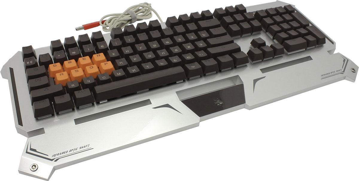 Игровая клавиатура A4Tech Bloody B740A, Silver Black300809Игровая клавиатура A4Tech Bloody B740A с оптическими переключателями идеально подойдет для современных геймеров. Инновационная технология Light Strike использует оптические переключатели, обеспечивающие непревзойденное время отклика до 0.2 мс! При этом отсутствует громкий металлический звук при нажатии. Данная модель имеет ресурс 100 млн. нажатий, а также эффективную защиту от пыли и влаги. Оптические переключатели защищены 6 мм барьером, чтобы предотвратить попадание жидкости. Усиленный пробел Двойные винты + двойные пружины + компенсирующая планка предназначены для большей прочности. Благодаря технологии Dual-color injection клавиши никогда не сотрутся. Нескользящие резиновые ножки предотвращают вибрацию и скольжение клавиатуры во время игры. Игровой режим Gaming Mode Нажатие Fn + F8 деактивирует кнопки Windows для предотвращения случайного вылета из игровой сессии. Парящие клавиши с эргономичным...
