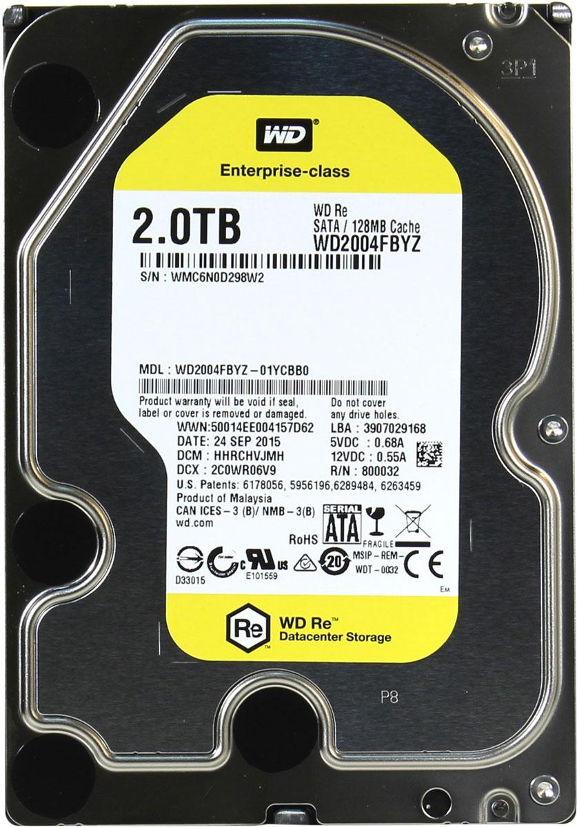 WD Re 2TB внутренний жесткий диск (WD2004FBYZ)WD2004FBYZМодель WD Re, созданная с применением передовых технологий, обеспечивающих стабильно высокую скорость работы в самых различных системах, и обладающая нагрузочной способностью в десять раз выше, чем накопители для настольных ПК - это рабочая лошадка семейства накопителей WD для ЦОД.Накопитель превосходно подходит для дисковых массивов, для которых требуются самые надежные диски. Благодаря своему высокому быстродействию, емкости и надежности модель WD Re превосходно подходит для хранилищ данных, систем добычи данных и высокоскоростных вычислительных систем.Этот накопитель, рассчитанный на обработку до 550 ТБ данных в год, имеет самую высокую нагрузочную способность среди 3,5-дюймовых жестких дисков и может работать быстро и надежно в любых ЦОД.Этот скоростной накопитель с MTBF до 2 млн. часов отличается высочайшей надежностью при круглосуточной работе в самых требовательных системах хранения.Система позиционирования головок с двумя приводами, отличающаяся повышенной точностью размещения блока головок над дорожками диска. Главный привод, работающий по традиционному электромагнитному принципу, перемещает блок головок по приблизительным координатам. Вспомогательный привод, в котором используется пьезомотор, более точно позиционирует головки над дорожкой. Технология RAFF нового поколения предусматривает применение сложных электронных схем для слежения за работой накопителя и одновременной корректировки как линейной, так и угловой вибрации в реальном времени. Это позволяет значительно повысить быстродействие накопителей в условиях сильной вибрации по сравнению с моделями предыдущего поколения.Записывающая головка ни при каких обстоятельствах не соприкасается с поверхностью диска, что способствует значительному уменьшению износа головок и дисков, а также более надежной защите накопителей в процессе их перевозки.Буфер HDD: 128 МБМаксимальные перегрузки: 30G длительностью 2 мс при работе (чтение/запись), 65G длительность