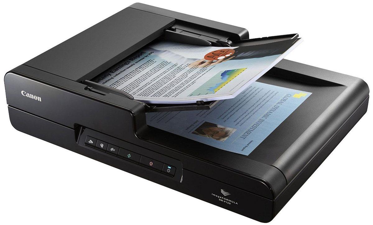 Canon DR-F120 (9017B003) сканер9017B003Canon DR-F120 позволяет точно и эффективно сканировать документы различных типов: компактное универсальное устройство сканирования, оснащенное устройством автоматической подачи документов (АПД) и модулем планшетного сканирования. Вы можете экономить драгоценное время, используя устройство подачи документов на 50 листов с высокой скоростью сканирования 20 стр/мин. Благодаря рекомендуемому объему работы до 1000 операций сканирования в день вы можете с уверенностью положиться на DR-F120 при выполнении повседневной работы. Несмотря на то, что Canon DR-F120 имеет компактный размер и занимает мало места, он позволяет сканировать широкий набор материалов. Прямой тракт подачи бумаги в устройство автоматической подачи документов позволяет загружать документы формата A4 и носители длиной до 1000 мм. Вы оцените повышенную надежность и экономия времени при сканировании смешанных документов за счет ролика отделения в механизме подачи. Модуль планшетного сканирования...
