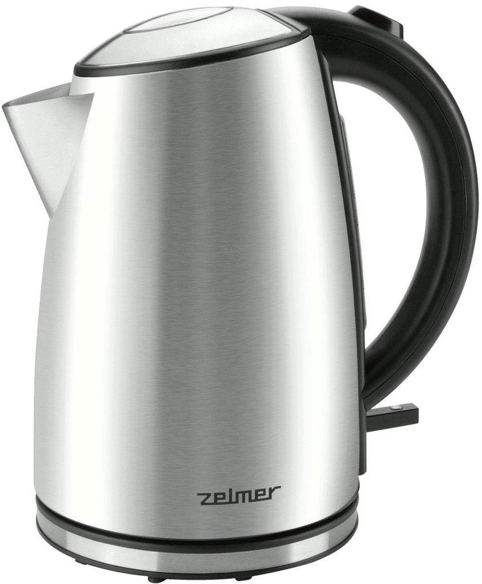 Zelmer ZCK1274X электрический чайникZCK1274XЧайник Zelmer ZCK1274X оборудован плоским нагревательным элементом мощностью в 2200 Вт, позволяющим действительно быстро вскипятить воду. Практичная, размещенная на ручке чайника, кнопка облегчает открывание крышки, а прозрачный индикатор уровня воды позволяет точно определить ее количество в чайнике. Работу чайника сигнализирует переключатель с подсветкой, когда процесс кипячения воды завершиться - переключатель поменяет свое положение и подсветка потухнет.