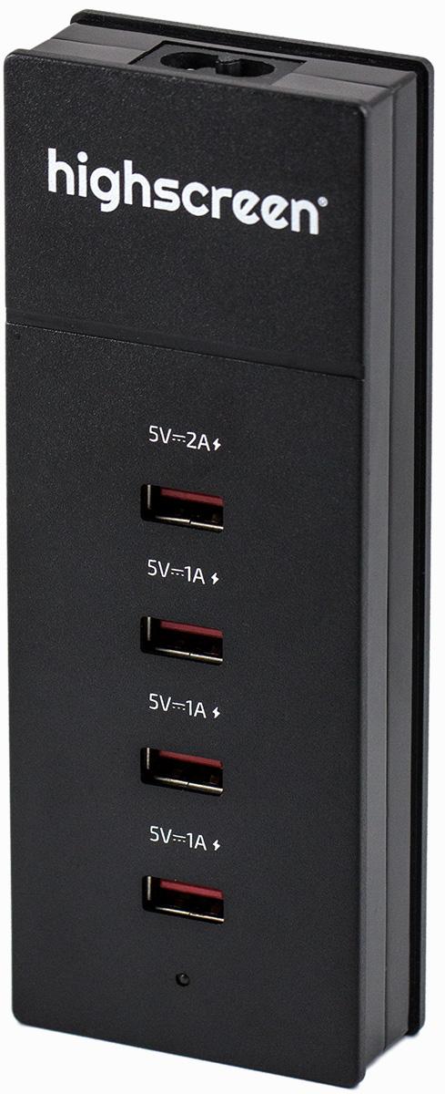 Highscreen 22419, Black сетевое зарядное устройство22419Сетевое зарядное устройство Highscreen 22419 совместимо с любым современным портативным устройством (телефоном, смартфоном, планшетным ПК). Имеется возможность заряда четырех различных устройств одновременно. Данная модель работает в бытовых сетях переменного тока (100-240 В).