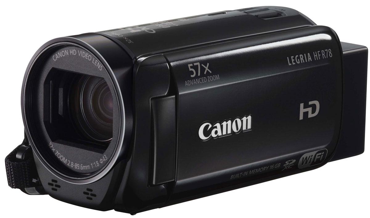 Canon LEGRIA HF R78, Black цифровая видеокамера1237C002Вы можете снимать видео с камерой Canon LEGRIA HF R78 в более широком диапазоне благодаря универсальному зум-объективу 57x с широкоугольной насадкой и мощными технологиями, которые улучшают качество изображения без лишних усилий. Функции Wi-Fi и NFC позволяют легко обмениваться видео.Оцените удобство съемки и простое, интуитивно понятное управление касанием пальцев благодаря большому, яркому сенсорному экрану емкостного типа. Одновременно записывайте видео в форматах AVCHD и MP4 и легко выполняйте подключение к мобильным устройствам с помощью Wi-Fi и NFC для дистанционной съемки и удобной отправки файлов MP4 друзьям или на сайты социальных сетей.Множество мощных технологий позволяют создавать видео Full HD потрясающего качества. С легкостью снимайте отдаленные объекты, сохраняя детализацию, благодаря большому усовершенствованному зум-объективу 57x и функции автоматической помощи в кадрировке при зумировании или используйте широкоугольную насадку, чтобы увеличить охват кадра. Система интеллектуальной стабилизации изображения автоматически устраняет эффект сотрясения камеры для создания плавного видео.Создавайте выразительные эффекты с помощью замедленной и ускоренной съемки, добавляйте интересные видеоэффекты с помощью функции Touch Decoration, а кинофильтры помогут вам создать уникальную атмосферу. Запечатлейте важные моменты жизни ваших детей с помощью улучшенного режима Малыш, который автоматически сортирует видеозаписи по альбомам в трех пользовательских профиляхДобиться звука такого же превосходного качества, что и видео, легко с помощью функции выбора аудиоэпизода, которая выбирает один из 5 режимов эпизодов и автоматически оптимизирует настройки звука для снимаемого эпизода.