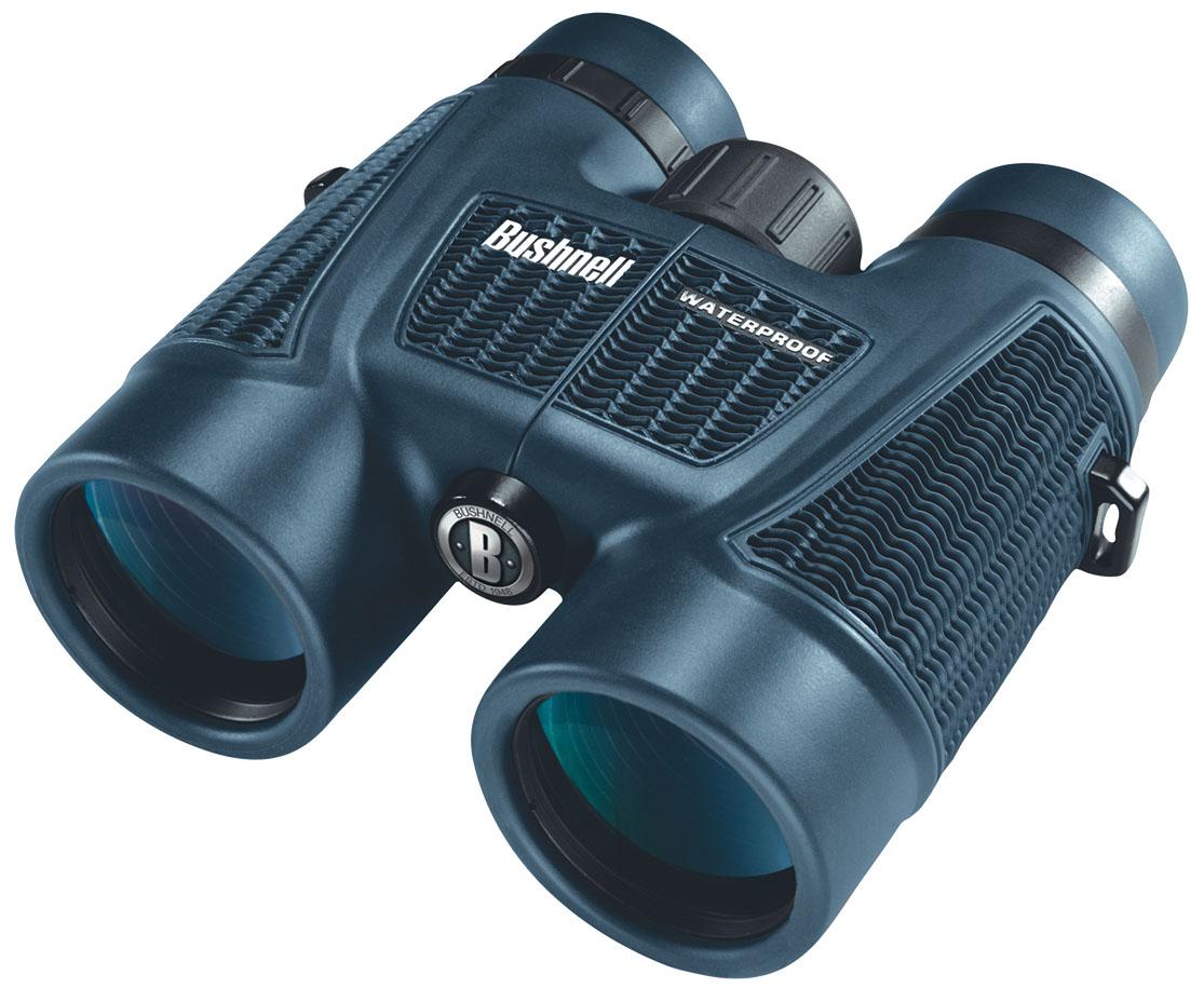 Бинокль Bushnell H2O Roof 8x42, цвет: синий158042Бинокли Bushnell H2O – незаменимый спутник, который не боится воды. БинокльBushnell 8х42 H2O ROOF соединяет в себе мощную светоислу со 100% водонепроницаемостью. Нескользящее покрытие корпуса Soft Texture Grip позволяет удерживать бинокль в руках. В биноклях H20 используются уплотнительные герметизирующие кольца и азотное заполнение, поэтому они всегда дают превосходное изображение, сколь бы мокрыми они не стали.